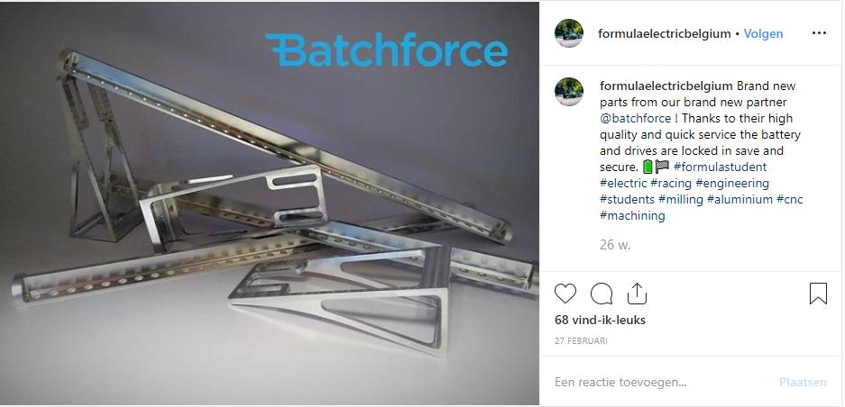 Batchforce maakt onderdelen voor Formule Electric Belgium